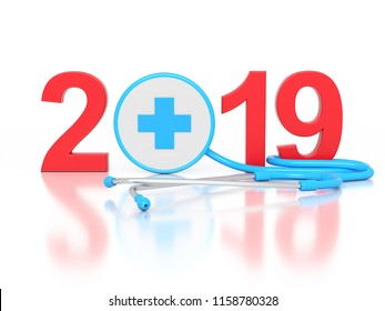 New Year 2019 Creative Design with Medical Concept - 3D Rendered Image