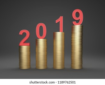 New Year 2019 Creative Design Concept with Gold Coins - 3D Rendered Image