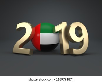 New Year 2019 Creative Design Concept with Flag - 3D Rendered Image