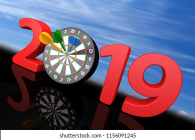 New year 2019 with darts board. 3d illustration