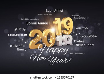 New Year 2019 date number colored in gold above ending year 2018 and greeting words in multiple languages, on a glittering black background - 3D illustration