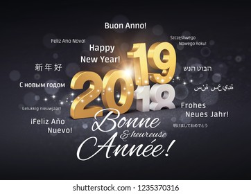 New Year 2019 date number colored in gold above ending year 2018 and greetings in French and foreign languages, on a glittering black background - 3D illustration