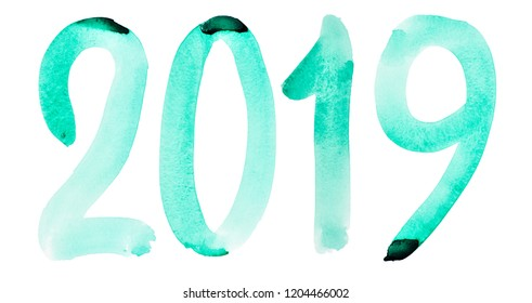 New year 2019 - Hand drawn green watercolor number isolated on the white background