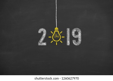New Year 2019 Idea Concepts on Chalkboard Background