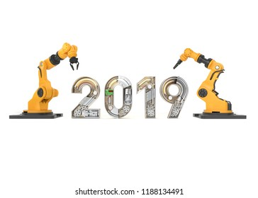 New year 2019 made from mechanical alphabet with robotic arm. 3D illustration