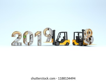 New year 2019 made from mechanical alphabet and forklift. 3D illustration