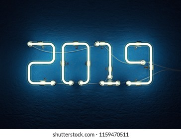 New year 2019 made from neon alphabet. 3D illustration