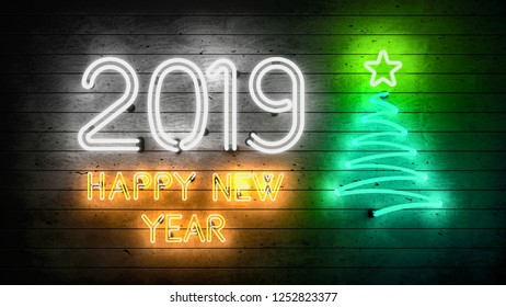 New Year 2019. Neon shapes with lights. 3d illustration.