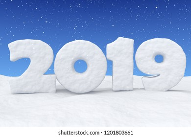 New Year 2019 sign text written with numbers made of snow on snow surface in snowy field under blue sky and snowfall, winter snow symbol 3d illustration
