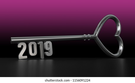 New Year 2019 with Silver Key - 3D Rendering