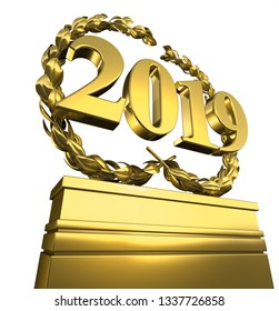 new year 2019 New Year's day pedestal with number in spotlight, 3D Illustration