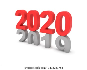 New Year 2020 concept - 3D Rendered Image