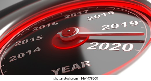 New year 2020 countdown. Auto car gauge speedometer, indicator approaching 2020. 3d illustration