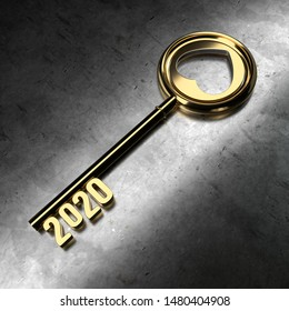 New Year 2020 with Gold Key - 3D Rendering