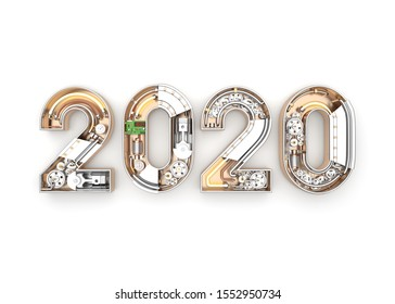New year 2020 made from mechanical alphabet with gear. 3D illustration