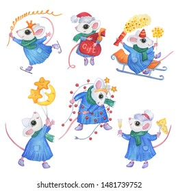 New year 2020 - set, collection with white cute little mouse in winter clothes.  Cartoon watercolor hand drawn painting illustration, isolated on a white background.