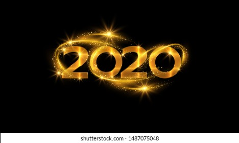 New year 2020 sparkling golden numbers on black background