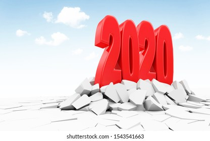 New Year 2020 Symbol Breaking Through from Ground. 3D Rendering
