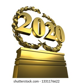 new year 2020, New Year's day, number with laurel wreath in spotlight at pedestal,isolated