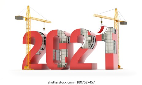 New Year 2021 and cranes, construction concept, 3D illustration