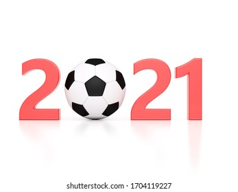 New Year 2021 Creative Design Concept with Football - 3D Rendered Image