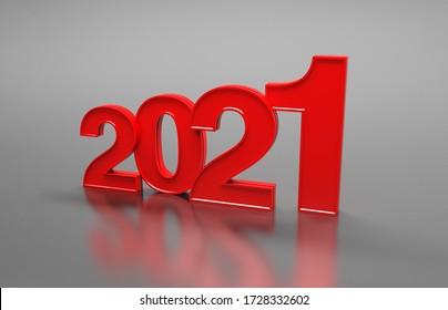 Concept de conception créative du Nouvel An 2021 - Image 3D rendue