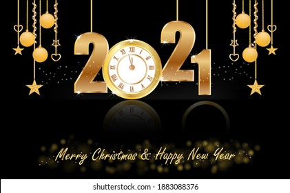New Year 2021 Design With Clock And Hanging Ornaments Free Illustration