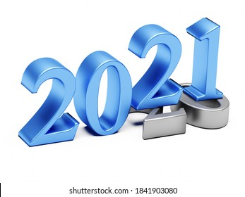 New year 2021 holiday concept. The number 2021 lies at 2020. 3d rendering