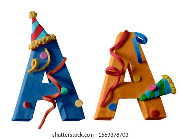 New Year alphabet. Two letters A. Christmas Font. Colorful Play dough (Plasticine or Clay).  Created by hands. Isolated on white background.- 3D ilustration