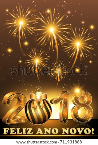 new year card 2018 background with message in portuguese language text meaning happy