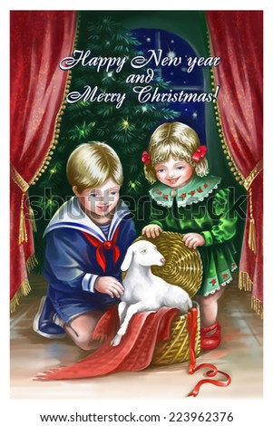 new year card with ewe sheep children winter boy and girl