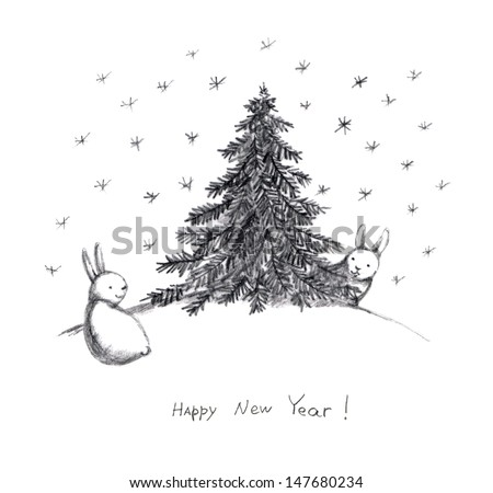 new year card with rabbits pencil sketch
