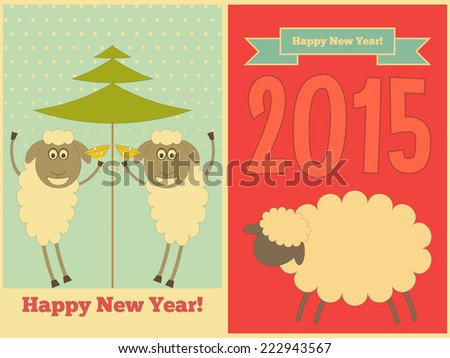 new year cards with cute cartoon sheep in retro style symbol of 2015 year