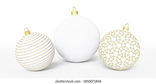 New Year. Christmas balls on a white background. 3D rendering. Christmas card. Christmas balls. White background. Ball.