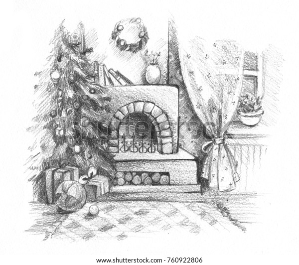 Christmas Celebration Images For Drawing.New Year Christmas Celebration Pencil Drawing Stock