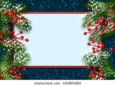 New Year. Christmas. Postcard, card. Green spruce branches in the snow with red berries on both sides. Place for advertising and announcements. Isolated  illustration