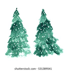 New Year Christmas tree isolated on white background. Hand drawn vintage card design. Winter nature illustration
