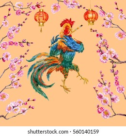 New year cock and blooming apricot. Watercolor