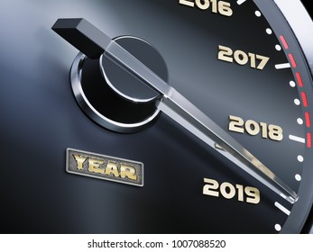 New year coming and passing time concept, car dashboard speedometer dial with past years and approaching 2019, 3d illustration