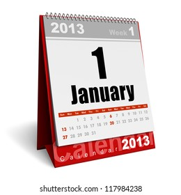 New Year concept: January 2013 calendar isolated on white background