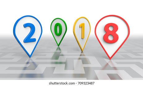 New Year Concept, Multicolored 2018 - 3D rendering