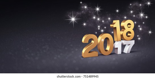 New year date 2018 above 2017, colored in gold, on a festive black background - 3D illustration