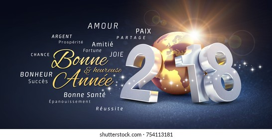 New Year date 2018 composed with a golden planet earth and greeting words in French - 3D illustration