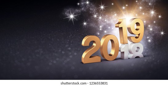 New Year date number 2019 colored in gold, above ending year 2018, glittering on a festive black background - 3D illustration