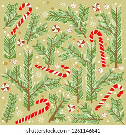 New Year decor. Botanical illustration. Coniferous trees.