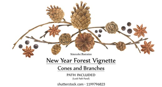 New year design by watercolor. Cones and branches forest vignette. Isolated, path included