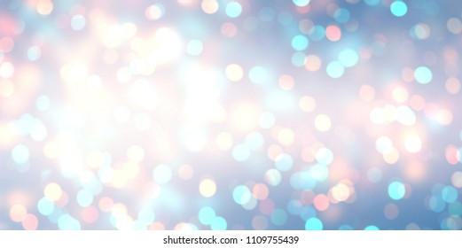 New year glitter banner. White blue pink bokeh empty background. Shimmer sparkles abstract texture. Winter holidays blurred template. Brilliance defocused illustration.