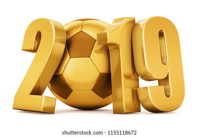 New Year. Golden soccer ball with gold numbers 2019 on a white background. 3d rendering.