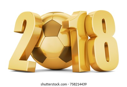 New Year. Golden soccer ball with gold numbers 2018 on a white background. 3d rendering.