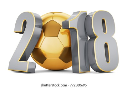 New year. Golden soccer ball with gold and silver numbers 2018 on a white background. 3d rendering.